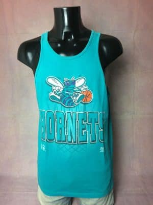 T-Shirt Charlotte Hornets, Année 1993, Marque Team Rated, Official Licensed Product NBA, Made in USA, Pur coton, Véritable Vintage 90s, Taille M, Couleur Bleu, Maillot Débardeur Tank Top Basketball Homme