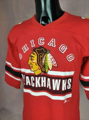 T-Shirt Chicago Blackhawks, Année 1994, Made in USA, Licence officielle NHL, Marque Team Rated, Véritable Vintage Années 90, Taille S, Couleur Rouge et Blanc, Hockey Sports Homme