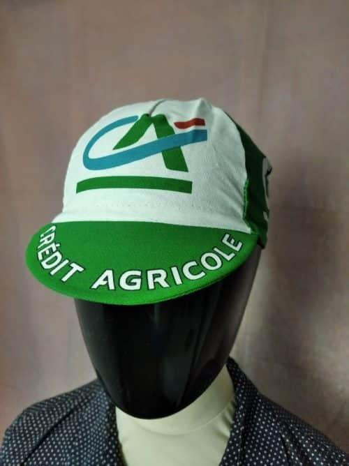 Casquette Crédit Agricole Team, marque Nalini, véritable vintage année 2003, Taille Unique, Couleurs Bleu, Blanc, Vert, Tour de France, Cyclisme Eroica Vélo Fixie Hat Unisexe