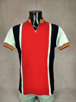 Maillot Decca, Vintage Années 70s, Equipements Delferier Bruxelles, Fausse Laine, Taille L, Couleurs Blanc, Noir et Rouge, Jersey Eroica Design Homme