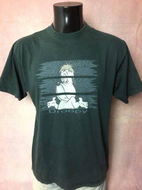 Droopy T-Shirt, I'm so happy, Véritable vintage année 2000, Licence Officielle, Marque Studio Aventures, Taille M, Couleur Noir, Tex Avery Cartoon Legend Dog Homme