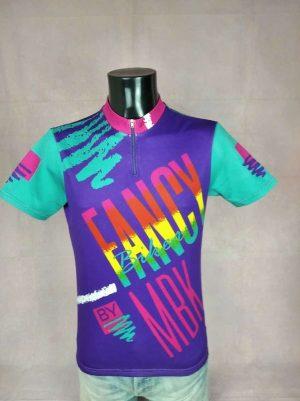 Maillot Fancy Biker by MBK, Véritable Vintage Années 90s, Marque Tinazzi, Made in Italy, Taille L, Couleurs Violet et Multicolore, Jersey Eroica Fun Homme