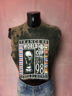 France 98 T-Shirt, Véritable vintage années 90s, Licence Officielle, Marque France 98, Taille M, Crop top, Couleur Noir Tie Dye, Pur coton, Coupe du Monde World Cup Mundial Team FFF Fan Jersey Maillot Football Unisex