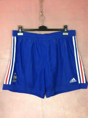 Shorts France, version Away, saison 2002 - 2004, World Cup 2002, de marque Adidas daté du 02/02, Vintage 00s, technologie ClimaLite, Taille élastique, FFF Team Football Homme