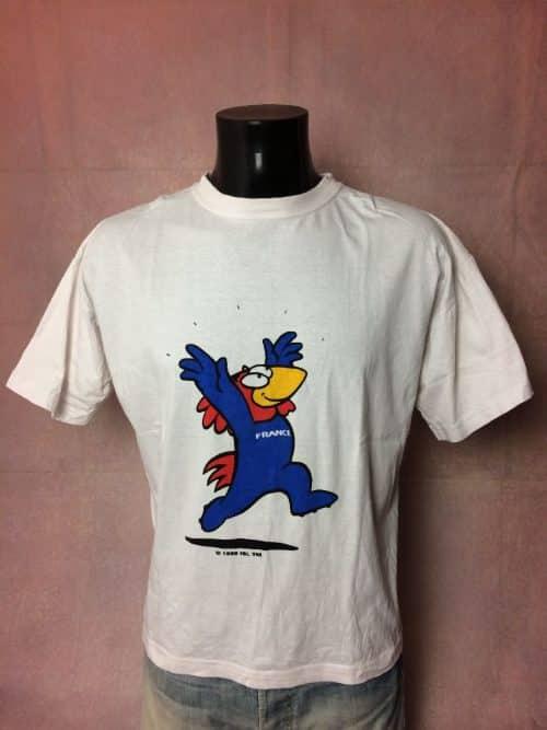 Footix T-Shirt Véritable vintage années 90s, Licence Officielle, MarqueFrance 98, Taille XL, Couleur Blanc, Pur coton, Coupe du Monde World Cup Mundial Team FFF Fan Jersey Maillot Football Homme