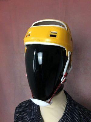 Casque Hockey, Véritable vintage année 70s - 80s, Jugulaire réglable, Intérieur rembourré, Taille Unique, Couleurs Jaune et Blanc, Helmet BMX Ski Unisexe