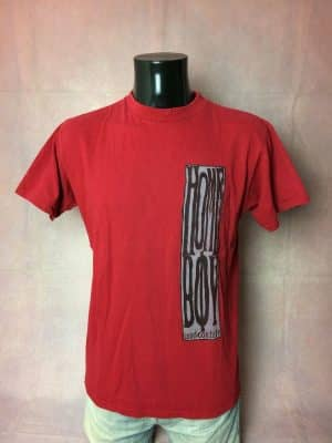 T-Shirt Homeboy Loud Couture, Véritable Vintage Années 90, Made in USA, Marque Wear Wolf, Pur coton, Taille M, Couleur Bordeaux, Skate Hip Hop Extreme Sports Homme