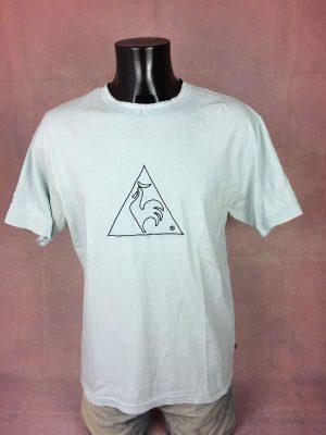 T-Shirt Le Coq Sportif, Véritable Vintage Années 00s,Gros logo brodé, Pur coton, Taille L, Couleur Bleu et Blanc, Y2K Sports Homme