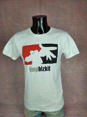 T-Shirt Limp Bizkit, Logo, Marque Merchcode, Pur coton, Taille S, Couleur Blanc, Rouge et Noir, Nu Metal Heavy Hip Hop Rap Biker Skate Homme