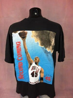 T-Shirt Michael Jordan, édition The Second Coming, Out Of This World, Année 1995, Véritable Vintage Années 90s, Double face, N°45, Made in Jamaica, Taille M, Couleur Noir, Basketball Design Sports Homme
