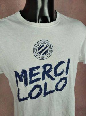 T-Shirt Merci Lolo, Montpellier Hérault Sport Club 1974, Saison 2017 2018, Marque Keya, Pour Coton, Taille S, Couleur Bleu et Blanc, Laurent Pionnier Football Ligue 1 France Homme