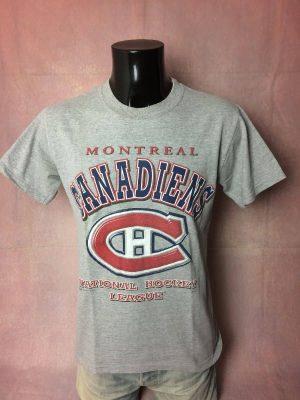 T-Shirt Montreal Canadiens, National Hockey League, Véritable Vintage Années 00, Marque Bulletin, Licence officielle, Taille M, Couleur Gris, Québec Canada NHL Homme