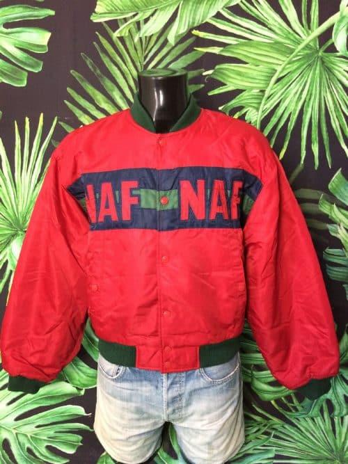 NAF NAF Bomber, Véritable VintageAnnées 90s, 100% Nylon, Doublé et Rembourré, Taille M, Couleur Rouge et Vert, Veste Unisex