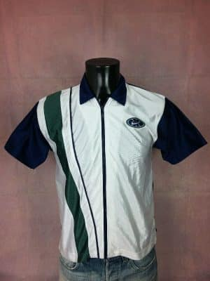 Maillot Nike, Shooting Shirt, Véritable Vintage Années 90s, White Tag, Made in Indonesia, Taille S, Couleur Blanc, Bleu et Vert, T-Shirt Echauffement Warm Up Basketball Design Sports Homme