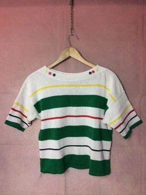 Paris T-shirt, Modèle Femme, Véritable Vintage années 80s, Made in France, Taille M, Couleurs Blanc et Vert, Court Oversize Rayé Design
