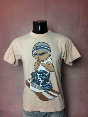 Surfers Suck T-Shirt, Véritable Vintage Année 90s, Marque FS, Double Face, Taille S, Couleur Beige, Ski Snowboard Baggy Old School Cartoon Homme