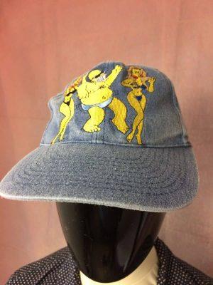 Casquette The Simpsons, Année 1998, Véritable Vintage années 90s, Official Licence Fox, Marque Elmi, Pur Coton, Taille Unique, Couleurs Bleu et Jaune, Jeans Denim Homer Unisexe