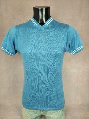 Maillot Vintage Années 70s, Taille S, Couleurs Bleu et Blanc, Jersey Eroica Acrylique Homme
