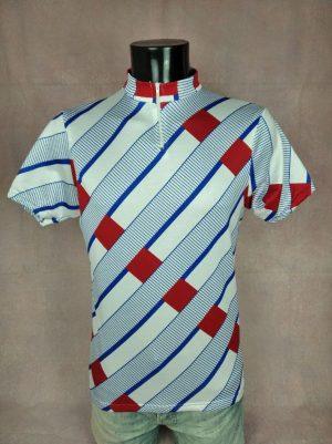 Maillot Vintage Années 90s, Taille M, Couleurs Bleu Blanc Rouge, France Jersey Eroica Design Homme