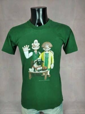 T-Shirt Wallace & Gromit, Année 1989, Licence officielle BBC Worldwide, Marque Ultraviolet, Véritable Vintage Années 80, Taille S, Couleur Vert, Television Series Film Rare Homme