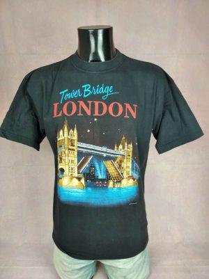 T-Shirt Zip It London, Edition Tower Bridge London, Pur coton, Véritable Vintage Années 90s, Taille M, Couleur Noir, England Royaume Uni Design Homme
