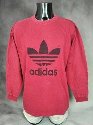 T-Shirt Adidas, Véritable Vintage Années 90s, Made in Greece, Gros Logo Trefoil, Taille XL, Couleur Rouge et Noir, Sport Sportwear Homme