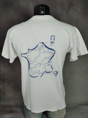 T-Shirt Albertville 1992, Parcours de la Flamme Olympique, Véritable vintage Années 90, La Poste, Taille M, Couleur Blanc, JO France Logo Homme