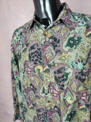 Chemise Balafre, Véritable années 90s, Taille XL, Couleur Multicolore, 100% soie, Psyche Design Rock Old School Homme