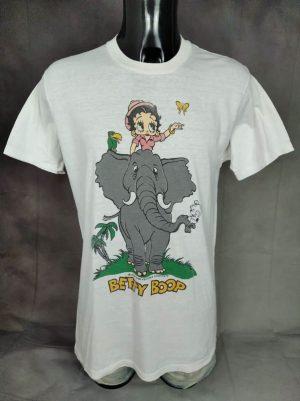 T-Shirt Betty Boop, 1984 King Features Syndicate, Véritable Vintage Années 80s, Made in USA, Double Face, Taille M, Couleur Blanc, Eléphant Comics Cartoon Superhéros Homme
