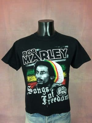 T-Shirt Bob Marley, Songs Of Freedom, Véritable Vintage Années 00s, Marque Reo, Double Face, Pur coton, Taille M, Couleur Noir, Wailers Reggae Jamaïque Jah Homme