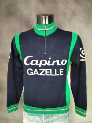 Maillot Capino Gazelle Team, Véritable Vintage Année 80s, Marque Ervépé, Manches Longues, Taille S, Couleur Bleu, Vert et Blanc, Hiver Eroica Vélo Cyclisme Old School Unisexe