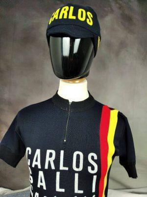 Maillot Carlos Galli Team + Casquette, Véritable Vintage Année 1979, Marque Castelli, Taille M, Couleur Noir, Rouge et Jaune, Italie Eroica Vélo Cyclisme Old School Homme