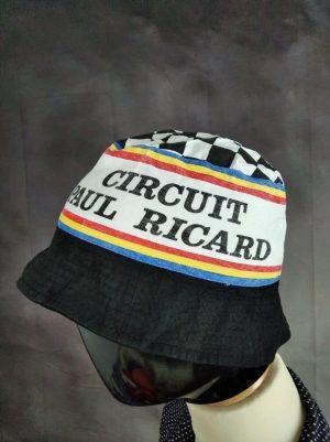 Bob Circuit Paul Ricard, Véritable Vintage année 80, Made in Hong Kong, Pur Coton, Taille 58, Couleurs Noir et Multicolore, Formule 1, Racing, Eroica Cyclisme Fixie France Bucket Hat Unisexe