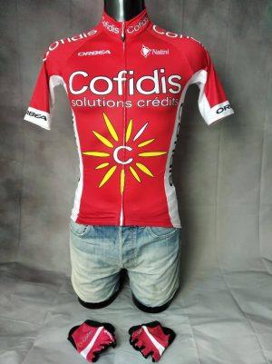 Maillot Cofidis Team + Gants, Saison 2016, Marque Nalini, Sponsor Orbea et Neuf de Cœur, Taille S, Couleur Rouge et Blanc, Tour de France Vélo Cyclisme France Homme