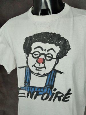 T-Shirt Coluche, Enfoiré, Véritable Vintage Année 80s, Pur Coton, Marque Serie Graffic, Taille L, Couleur Blanc, Resto du Cœur France Comique Salopette Homme