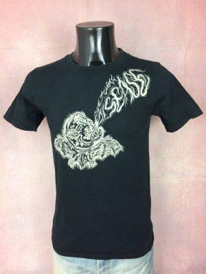 T-Shirt Cultural Disease, Marque Gildan, Pur Coton, Taille M, Couleur Noir et Blanc, Cartoon Noise Punk Rock Black Metal Homme