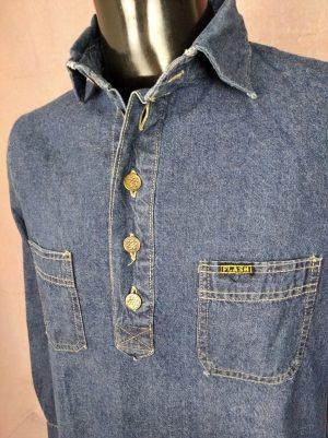 Chemise Flash, Véritable Vintage années 80s, Boutons Metal, Taille L, Couleur Bleu, 100% Coton, JeansDenim Design Rock Old School Homme