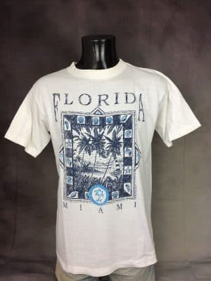 T-Shirt Florida, Miami, Véritable Vintage Années 80s, Marque Printees, Made in USA, Copyright Cotton Express, Pur coton, Taille XL, Couleur Blanc, Ocean Tourisme Souvenirs Old School Homme