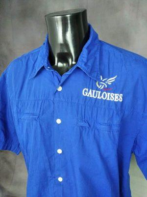 Chemise Gauloises, Véritable Vintage Années 90s, Pur Coton, Made in EC, Taille XL, Couleur Bleu, Formule 1 Garage Racing Compétition Shirt Homme