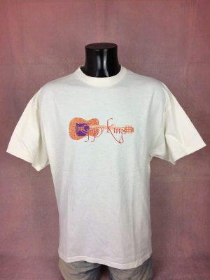 T-Shirt Gipsy Kings, édition US Tour 2000, Véritable Vintage Année 00s, Double Face, Marque Hanes, Pur Coton, Taille S, Couleur Blanc, Camargue Provence Gitan Concert Homme