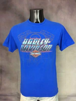 T-Shirt Legendary HARLEY DAVIDSON Massilia, Authorized Dealer Motor Cycles, Licence Officielle HD, Année 2014, Marque HD, Made in USA, Taille S, Couleur Bleu, Moto Biker Marseille France Homme