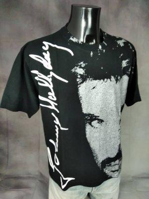 T-Shirt Johnny Hallyday, Licence Officielle, Overprint, Oversize, Signature,Taille XL, Couleur Noir et Argent, France Rock Homme