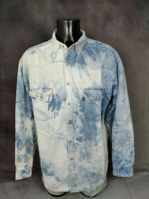 Chemise Levi's, Véritable Vintage Années 90s, Tie Dye, Made in Israel, Taille XL, Couleur Bleu Blanc, 100% Coton, Denim Jeans Design Rock Old School Levi Strauss Homme