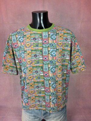 T-Shirt Mac Murray, Véritable Vintage Années 90s, Taille L, Couleur Multicolore, Design Psyche Rave Tribal Transe Y2K Rock Sports Homme
