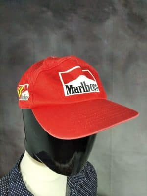 Casquette Marlboro Ferrari Team, Véritable Vintage Années 90s, Taille Unique, Couleurs Rouge et Blanc, Cigarettes Objet Publicitaire Racing F1 Formula One Formule 1 Unisexe