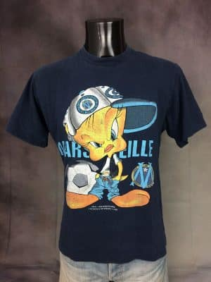 T-Shirt Marseille, Edition Titi, Année 1999, Marque Corner, Véritable Vintage Années 90, Licence Officielle Looney Tunes, Taille M, Couleur Bleu, OM Football France Cartoon Ligue 1 Tweety Homme