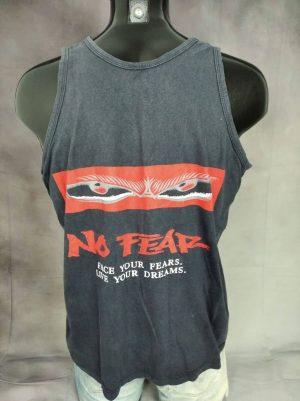T-Shirt No Fear, Face Your Fears, Live Your Dreams, Véritable Vintage Années 90s, Double Face, Taille M, Couleur Noir, Débardeur Biker Motocross Skate Surf Homme
