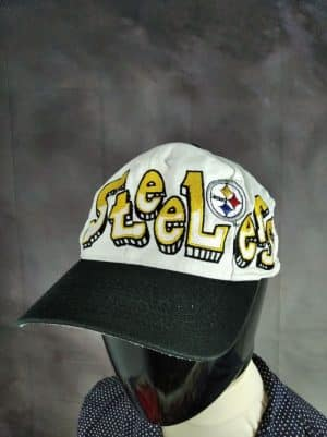 Casquette Pittsburgh Steelers, Marque Twill, Official Team NFL, Véritable vintage années 90, Made in Taiwan, Taille Unique, Couleurs Blanc - Noir, USA Football Américain Unisexe
