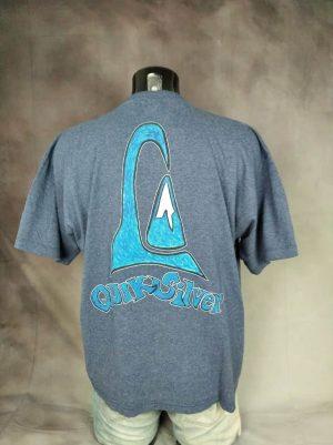 T-Shirt Quiksilver, Kelly Slater, Véritable Vintage années 90s, Made in Morocco, Dos imprimé, Taille XL, Couleur Bleu, Surf Sport World Champion Homme