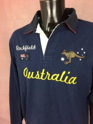 Polo Ruckfield, Modèle Australia, N°8, French Rugby Club, We are Rugby, Pur Coton, Taille XL, Couleur Bleu et Jaune, XV France World Cup Old School Homme